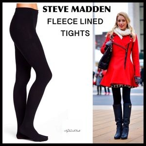 STEVE MADDEN BLACK FLEECE LINED TIGHTS A2C
